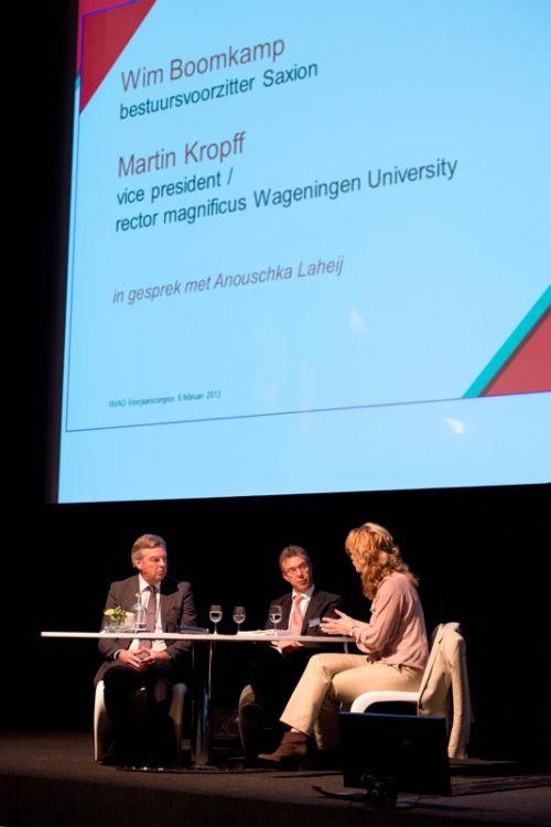 Laheij in gesprek met Martin Kropff, rector magnificus Universiteit Wageningen en Wim Boomkamp